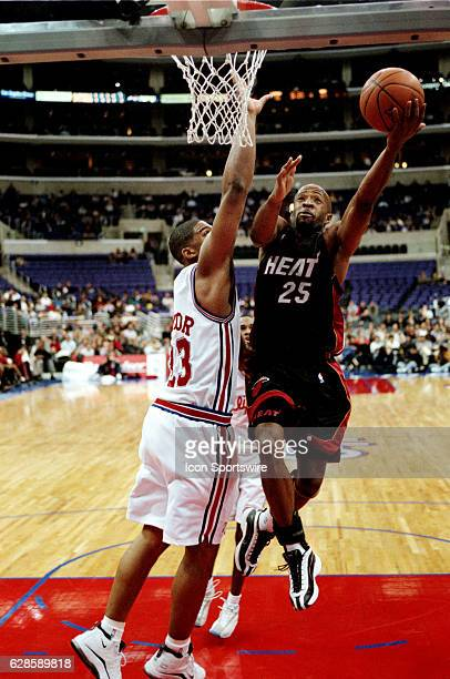 Anthony Carter of the Miami Heat goes up for a layup during the Heat's 9991 victory over the Los Angeles Clippers at the Staples Center in Los...