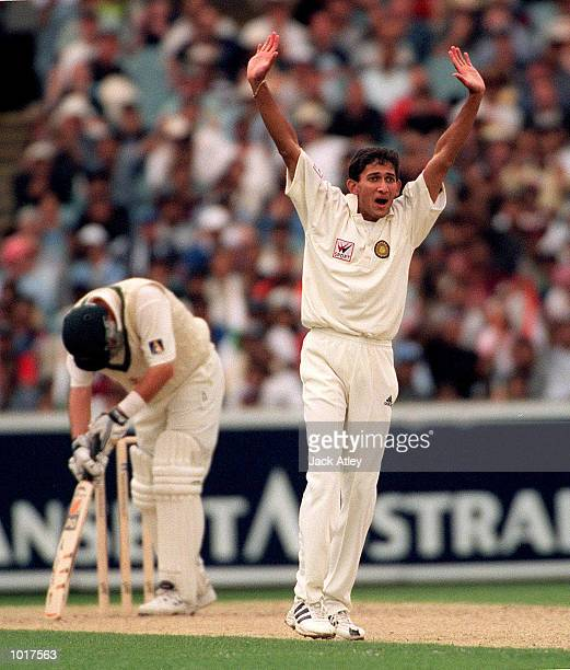 Australian cricket team batsman Mark Waugh is dejected after being given out lbw for forty one runs off the bowling of Ajit Agarkar during the Boxing...