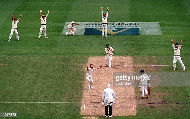 Australian pace bowler Brett Lee shows his jubilation on trapping Indian batsman Agit Agarkar out lbw first ball for nought runs on day three of the...