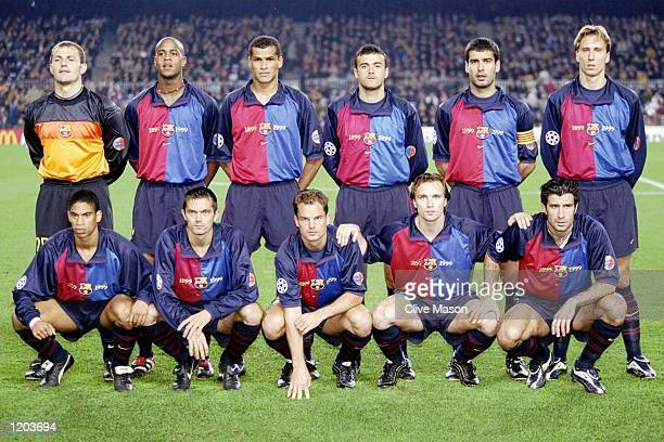 Barcelona line up to face Sparta Prague in the UEFA Champions League group A match at the Nou Camp in Barcelona Spain Barcelona won 50 Mandatory...
