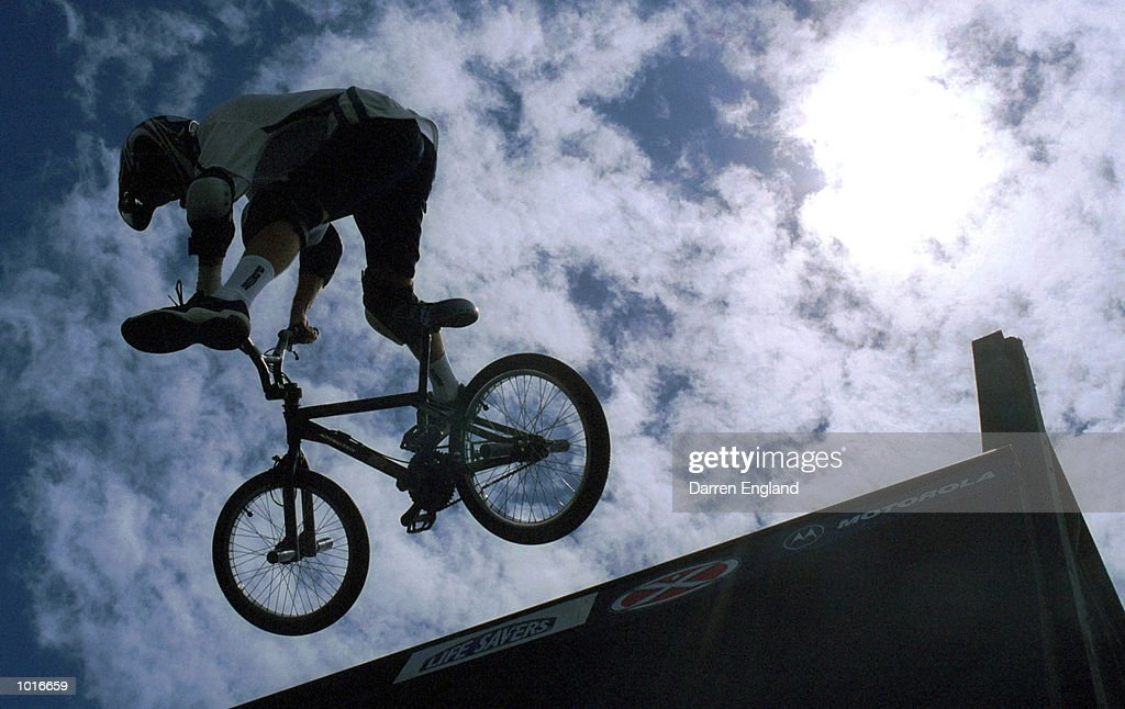 Benjamin Carnegie of Brisbane flies high during practice for the BMX vertical ramp competion at the Extreme Games in Brisbane,Australia. Mandatory Credit: Darren England/ALLSPORT