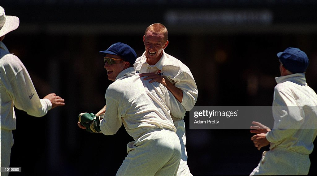 Brad Haddin and Greg Mail of NSW celebrate a wicket during the match between New South Wales v India at the Sydney Cricket Ground,Sydney Australia. Mandatory Credit: Adam Pretty/ALLSPORT