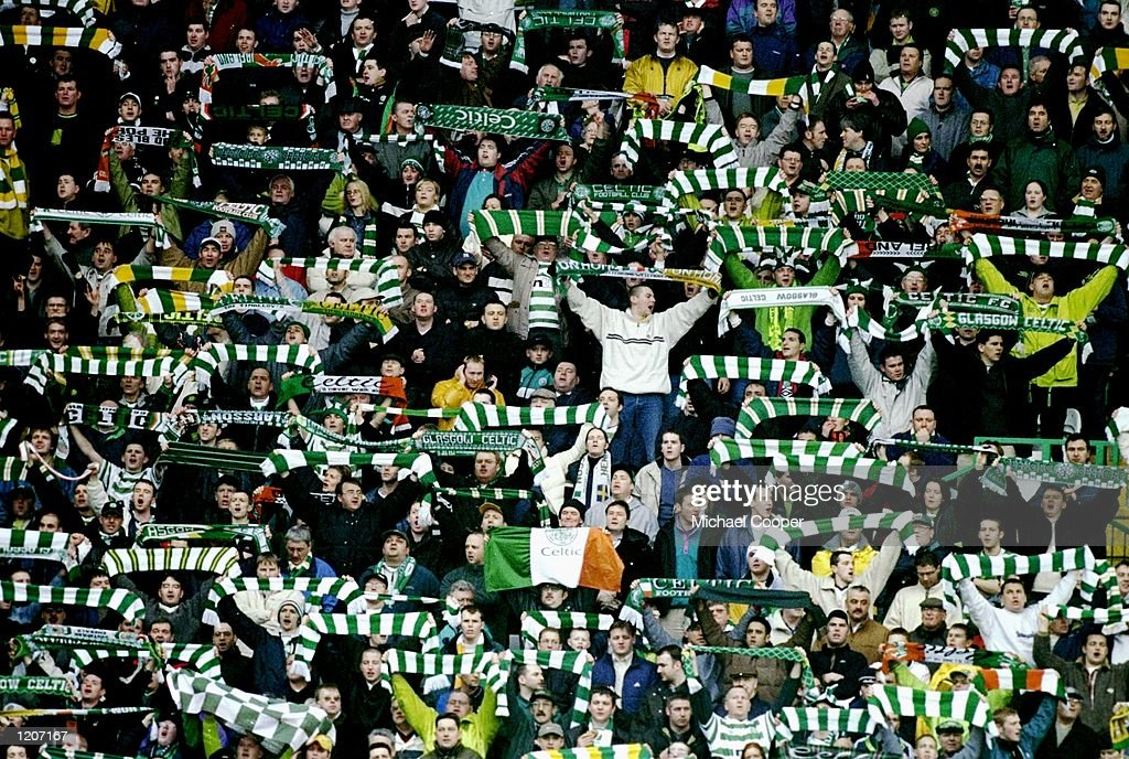 Celtic fans during the Scottish Premier League match against Rangers at Celtic Park in Glasgow, Scotland. The game ended 1-1. \ Mandatory Credit: Michael Cooper /Allsport