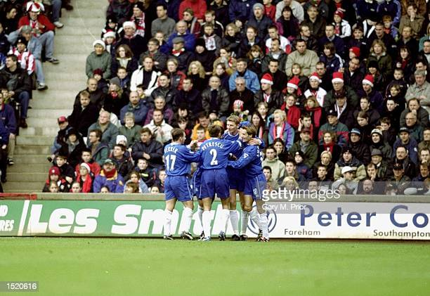Chelsea celebrate Tore Andre Flo's goal during the FA Carling Premier League match against Southampton played at The Dell in Southampton England...