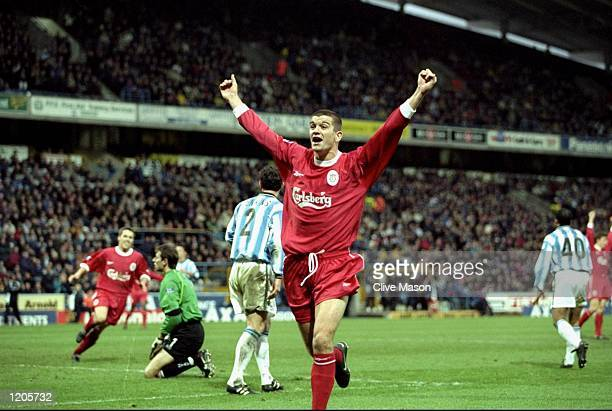 Dominic Matteo of Liverpool celebrates after scoring during the FA Cup 3rd Round match against Huddersfield played at the McAlpine Stadium in...
