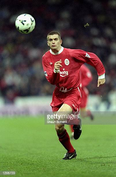 Dominic Matteo of Liverpool in action during the FA Cup 3rd Round match against Huddersfield played at the McAlpine Stadium in Huddersfield, England....