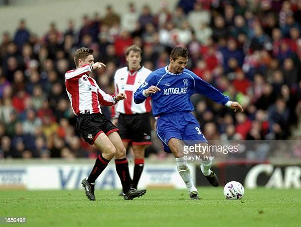 Emerson Thome of Chelsea is challenged by Marian Pahars of Southampton during the FA Carling premiership game at the Dell Southampton England Chelsea...