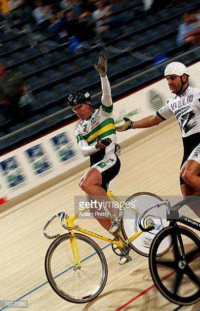 Gary Neiwand of Australia celebrates after beating Anthony Peden of New Zealand during the mens Oceania Sprint final at the Oceania International...