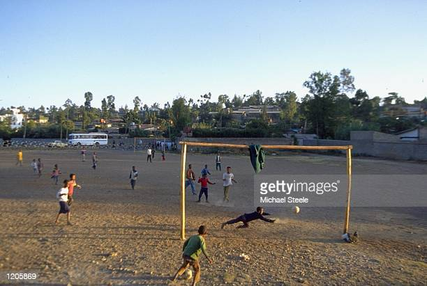 General view of young people playing football in the streets of Addis Ababa in Ethiopia Mandatory Credit Michael Steele /Allsport