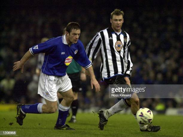 Gerry Taggart of Leicester is challenged by Duncan Ferguson of Newcastle during the Leicester City v Newcastle United FA Carling Premiership match at...