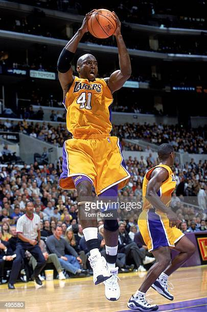 Glen Rice of the Los Angeles Lakers rebounds the ball during a game against the Portland TrailBlazersat the Staples Center in Los Angeles California...