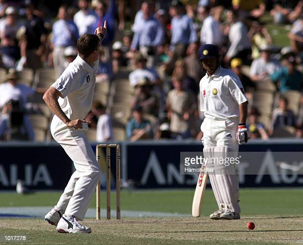 Glenn McGrath of Australia celebrates after trapping Sachin Tendulkar of India LBW after Tendulkar ducked into a bouncer on day four of the first...