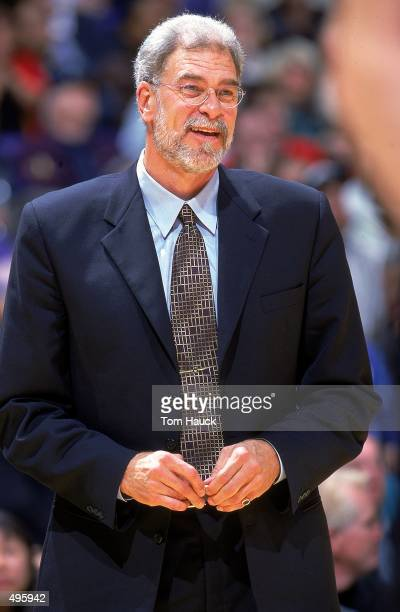 Head coach Phil Jackson of the Los Angeles Lakers looks on the court during a game against the Portland TrailBlazers at the Staples Center in Los...