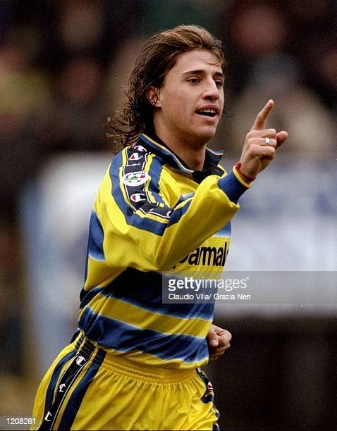 Hernan Crespo of Parma celebrates during the Serie A match against Torino played at the Stadio Tardini in Parma Italy Parma won the game 41 Mandatory...