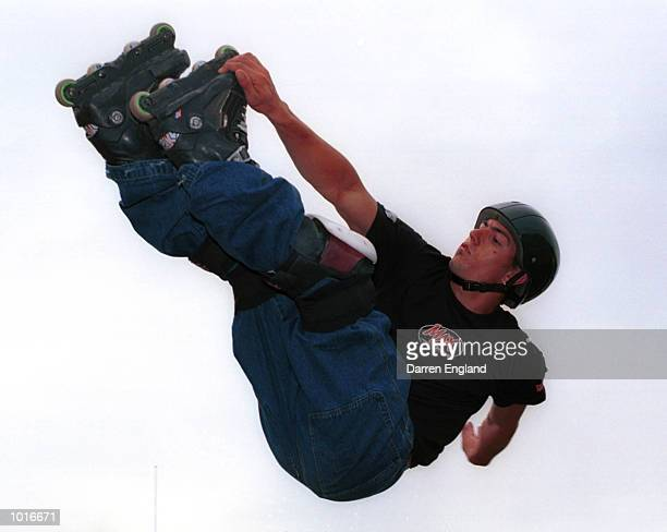 Matt Salerno of Sydney flies high during practice for the Inline Skating competion at the Extreme Games in BrisbaneAustralia Mandatory Credit Darren...