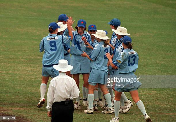 New South Wales celebrate the wicket of Elwin Campellin of Western Australia after Lisa Keightley takes catch during the match between New South...