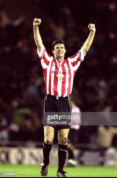 Niall Quinn of Sunderland celebrates his goal against Manchester United during the FA Carling Premiership match at the Stadium of Light in...