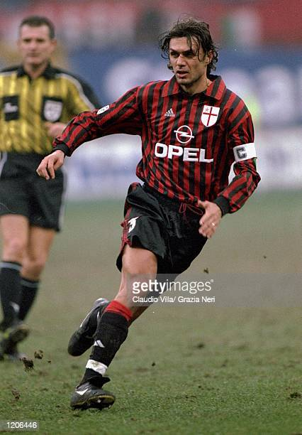 Paolo Maldini of AC Milan in action during the Italian Serie A match against Torino played at the San Siro in Milan Italy The game finished in a 20...