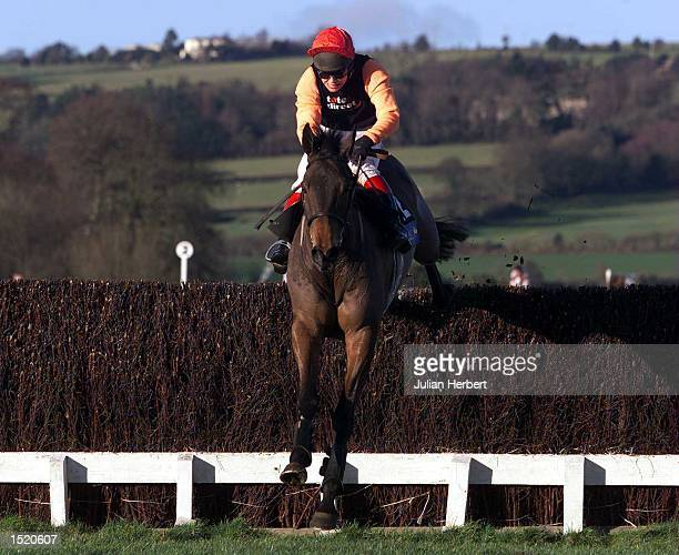 Richard Johnson and Edmond clear the last fence at Chepstow to go on and land TheCoral Welsh National. Mandatory Credit: Julian Herbert/ALLSPORT