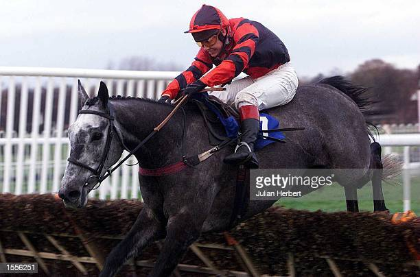 Richard Johnson and What's Up Boys clears the last flight at Sandown Park before going on to win The Bovis Europe Winter Novices'' Hurdle Race...