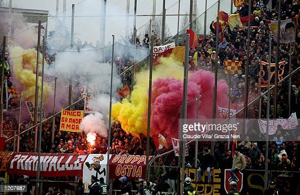 Roma fans during the Italian Serie A match betwen Parma and Roma played at the Stadio Tardini in Parma Italy Parma won the game 20 Mandatory Credit...