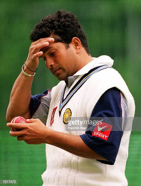 Sachin Tendulkar captain of India wipes his brow during training at the Melbourne Cricket Ground Melbourne Australia Mandatory Credit Hamish...