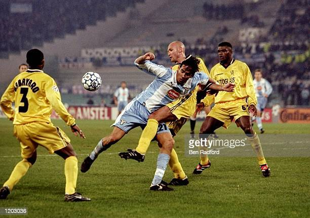 Simone Inzaghi of Lazio is stopped by Frank Leboeuf of Lazio during the UEFA Champions League Group D match at the Stadio Olimpico in Rome The game...
