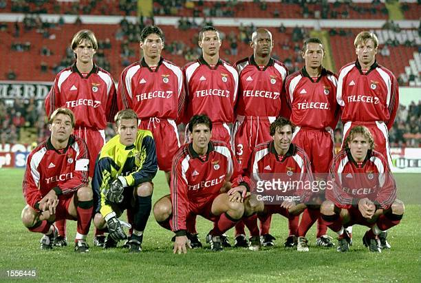 The Benfica team line up before the UEFA Cup Third Round Second Leg match against Celta Vigo played at the Stadium of Light in Benfica Portugal The...