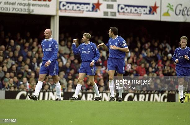 Tore Andre Flo of Chelsea celebrates during the FA Carling Premiership match against Southampton at the Dell in Southampton England Mandatory Credit...
