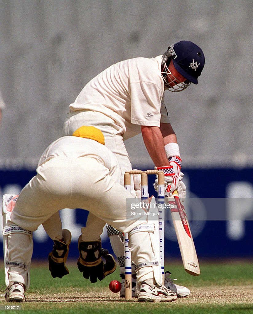 Victorian opening batsman Graeme Vimpani watches a Brad Oldroyd delivery miss his stumps by centimetres, with West Australian keeper Ryan Campbell looking on. The Pura Milk Cup match is being played at the MCG, Melbourne, Australia, with Victoria gaining first innings points. Mandatory Credit: Stuart Milligan/ALLSPORT