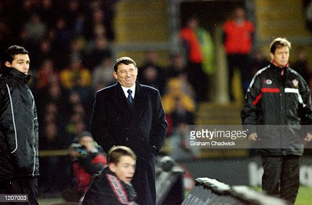 Watford manager Graham Taylor looks pleased with his team during the FA Carling Premier League match against Southampton played at Vicarage Road in...