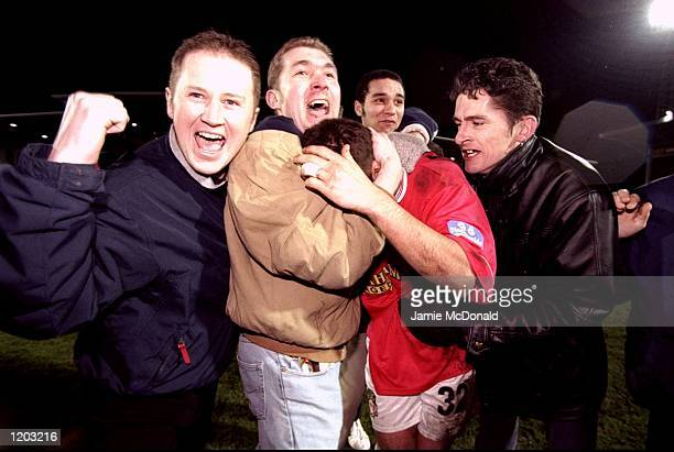 Wrexham fans hail their match winning hero Darren Ferguson after the FA Cup third round match against Middlesbrough at the Racecourse Ground in...