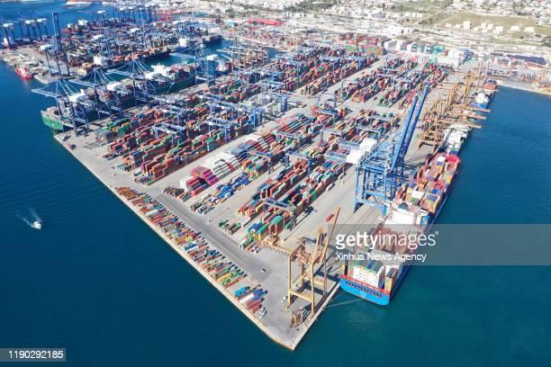 Dec. 20, 2019 -- Aerial photo taken on Jan. 16, 2019 shows the Piraeus port, Greece. The development of Piraeus in recent years is the encouraging...