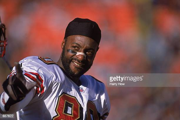 A close up of Jerry Rice of the San Francisco 49ers as he looks on while playing his last game as a 49er during the game against the Denver Broncos...