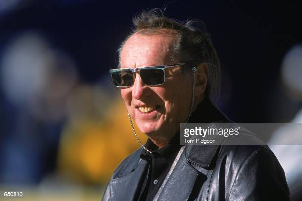Close up of Owner Al Davis of the Oakland Raiders as he smiles and looks on during the game against the Pittsburgh Steelers at the Three Rivers...