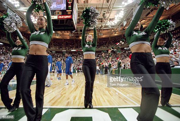 A general view of the Michigan State Spartans cheerleaders performing during the game against the Kentucky Wildcats at the Breslin Center in East...