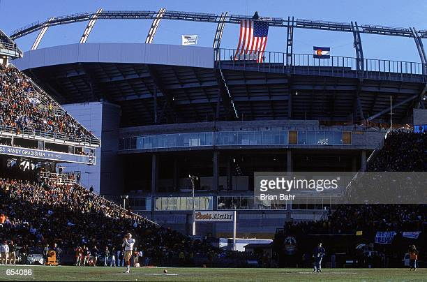 A general view of the Mile High Stadium with the construction of the new stadium in the background during the game between the Denver Broncos and the...