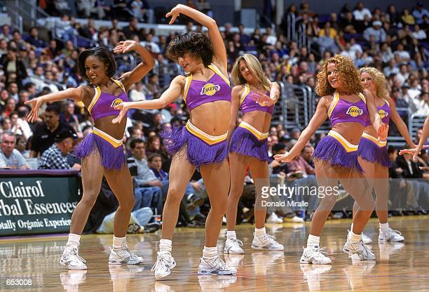 A view of the Los Angeles Lakers cheerleaders perform their routine on the court during the game against the Detroit Pistons at the STAPLES Center in...