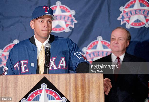 Alex Rodriguez talks during a press conference after being signed to the Texas Rangers at The Ball Park in Arlington, Texas.Mandatory Credit: Gary...