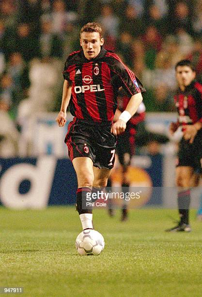 Andrei Shevchenko of AC Milan in action during the UEFA Champions League Group B match against Deportivo La Coruna played at the Estadio Riazor in...