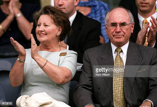 Australian Prime Minister John Howard and his wife Janette look on during the one day cricket game between the Prime Ministers X1 and the West Indies...