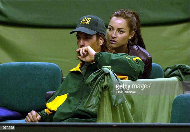 Australia's Pat Rafter with his girlfriend Lara Feltham before his training session to prepare for The Davis Cup Final between Spain and Australia at...