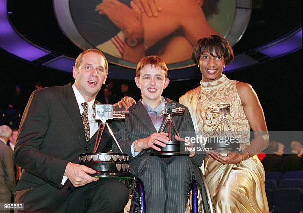 BBC Sports Personality of the Year winner Steve Redgrave third placed runnerup Tanni GreyThompson and second placed runnerup Denise Lewis pose with...