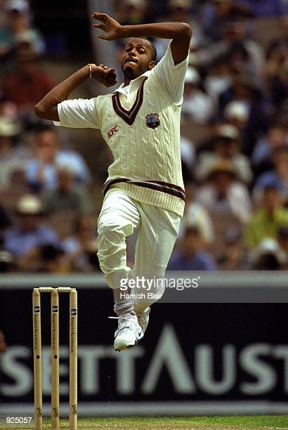 Courtney Walsh of the West Indies comes in to bowl in the 4th test match between Australia and the West Indies played at the Melbourne Cricket Ground...