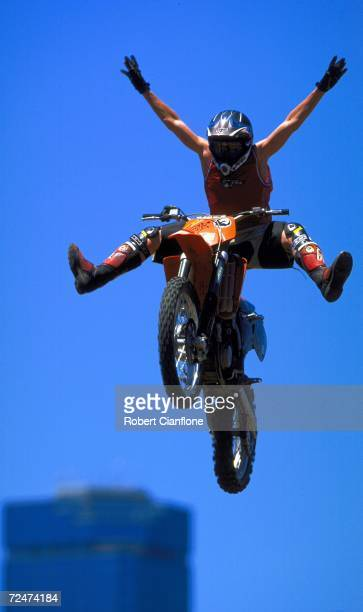 Daniel Hall of Australia performs a stunt during the Freestyle MotoCross eliminations at the Planet X Summer Xtreme Games which are being held at the...