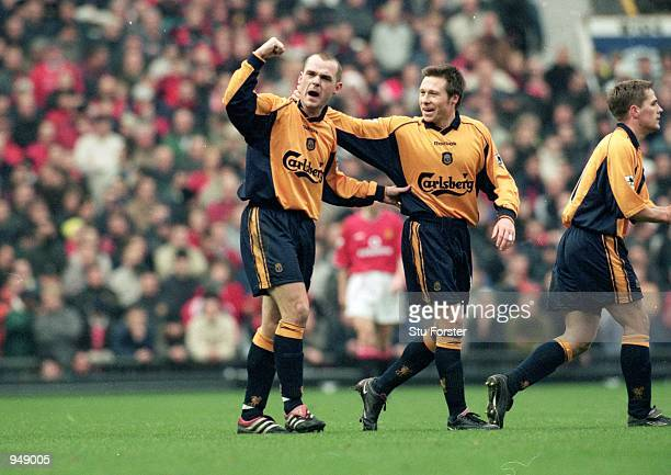Danny Murphy of Liverpool celebrates during the FA Carling Premiership match against Manchester United at Old Trafford in Manchester England...