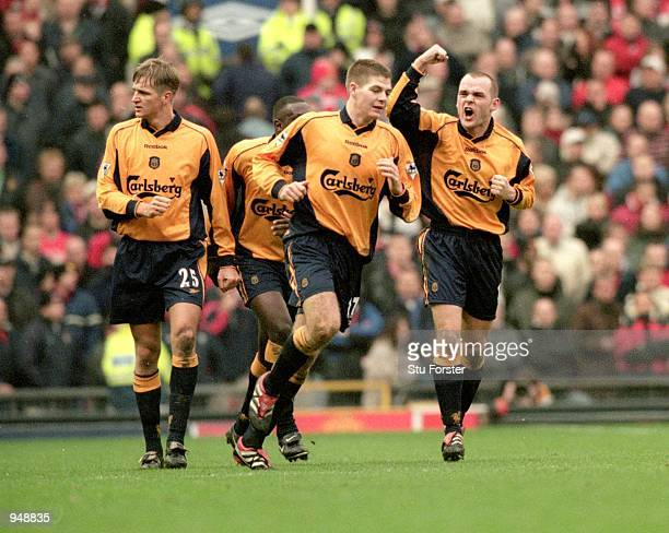 Danny Murphy of Liverpool celebrates his goal against Manchester United with team mates Steven Gerrard and Igor Biscan in the FA Carling Premiership...