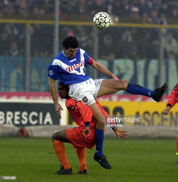 Dario Hubner of Brescia in action during a SERIE A 12th Round League match between Brescia and Lecce played at the Mario Rigamonti Stadium Brescia...