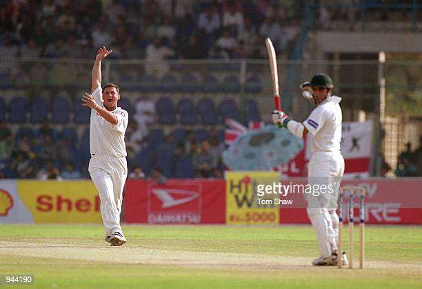 Darren Gough of England appeals during the Third Test match against Pakistan played at the National Stadium in Karachi Pakistan Mandatory Credit Tom...