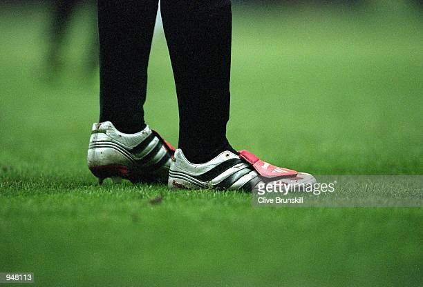 David Beckham of Manchester United football boots during the FA Carling Premiership match against Ipswich Town played at Old Trafford in Manchester...